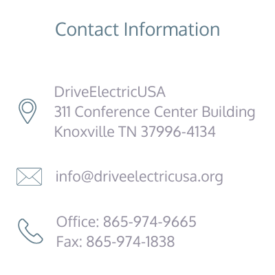 Address, email, phone number, and fax of DriveElectricUSA, light gray text