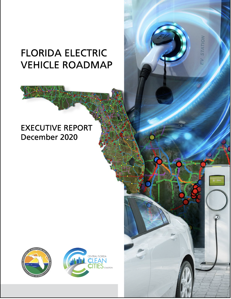 Photo of front page of Florida EV Roadmap document: click to download pdf