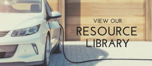 """""""View our Resource Library"""", Car plugged in to electric vehicle charger"""